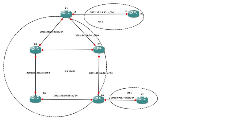 BGP IPv6 network topology