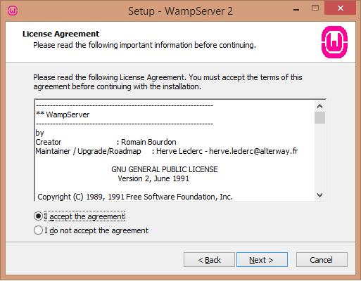 Install WAMP server license agreement - BIPmedia.com VPS