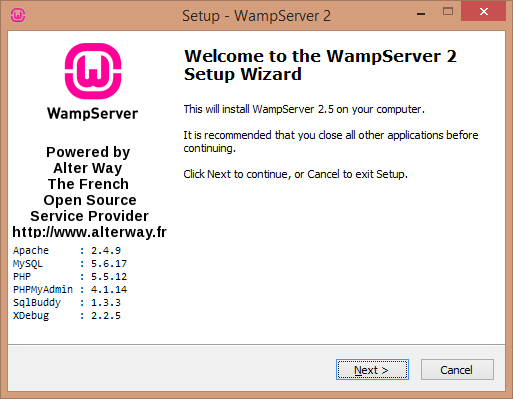 Install WAMP server welcome screenwamp server download- BIPmedia.com VPS