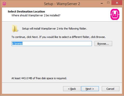 Install WAMP server destination install location - BIPmedia.com VPS
