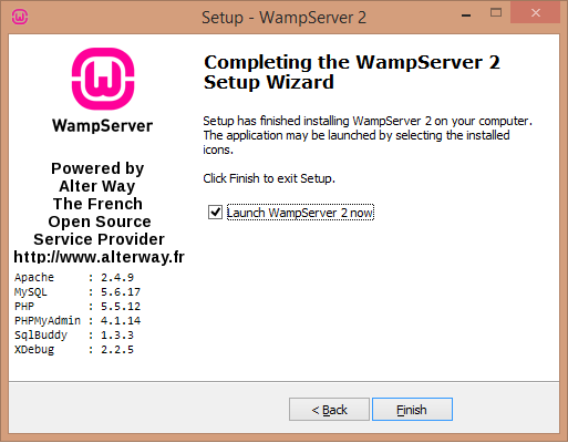 Install WAMP server launch screen - BIPmedia.com VPS