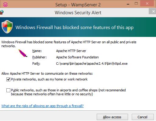 Install WAMP windows firewall screen - BIPmedia.com VPS