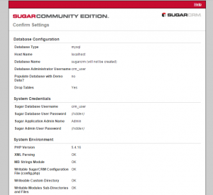 sugarcrm confirm settings